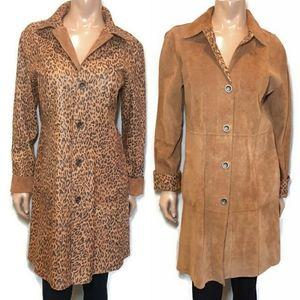 CHICOS Kenya Reversible Suede Leather Jacket Coat